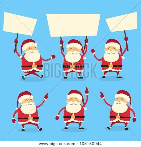 Santa Claus Banner, White Sign Board Blank Empty Copy Space, Christmas New Year Poster Collection Se