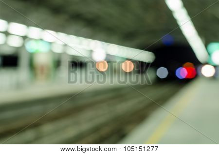 Abstract Blurred Electrical Sky Train Station In City