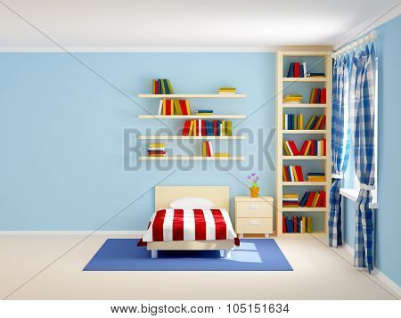 Bed Room Striped And Books