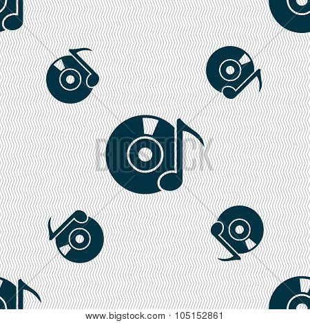 Cd Or Dvd Icon Sign. Seamless Pattern With Geometric Texture. Vector