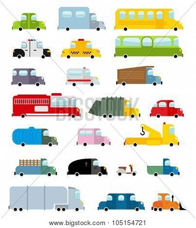 Car Set Cartoon Style. Big Transport Icons Collection. Ground Set Vehicles. Ambulance And School Bus