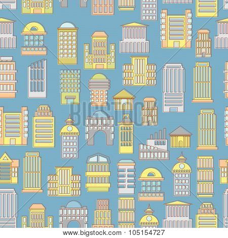 Megapolis Seamless Pattern. Background Of  Buildings City. Municipal And Business Institutions. Urba