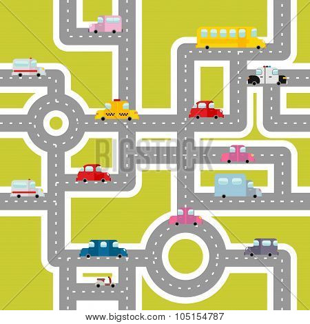 Road And Transport Seamless Pattern. Cartoon Map Of Cars And Traffic. Bus And Ambulance. Taxis And S