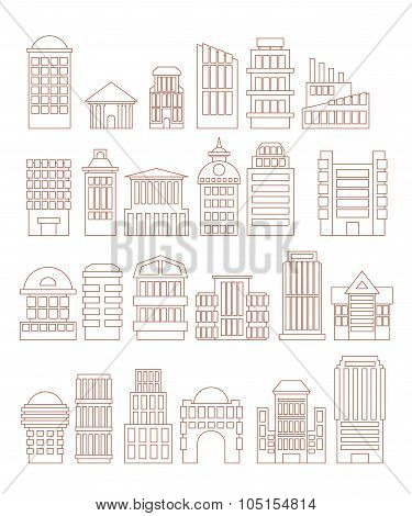 Set  Buildings  Icons. Public And Administrative Complexes. Large Business Centers. Skyscrapers And