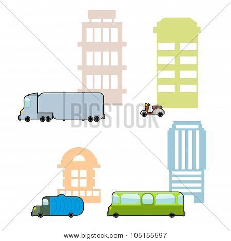 Set Municipal Transport And Public Buildings. Passenger Bus And  Skyscraper. Garbage And Recycling P