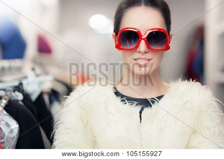 Winter Woman in Fur Coat with Big Glasses