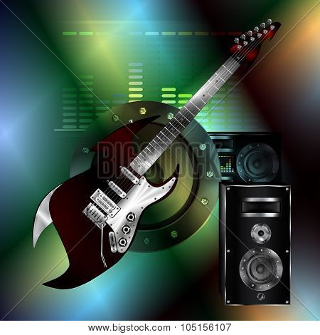Musical Background With A Rock Guitar And A Speaker