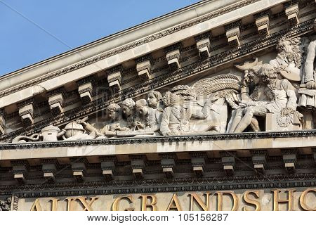 Paris - The pediment of Pantheon. Construction of the building started in 1757 and was finished in 1791