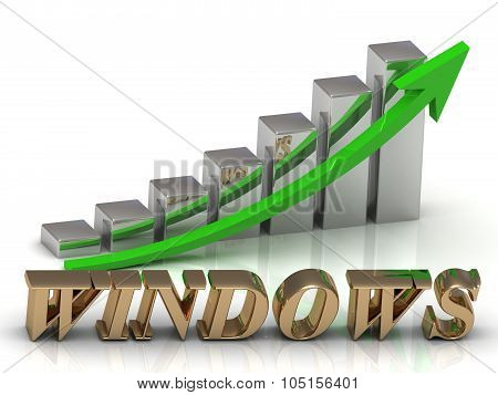 Windows- Inscription Of Gold Letters And Graphic Growth