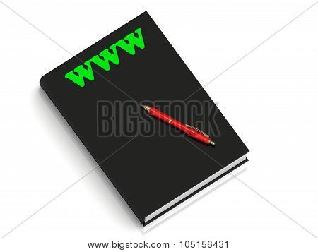 Www- Inscription Of Green Letters On Black Book
