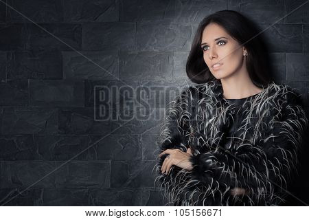 Beautiful Winter Woman Wearing Fur Coat