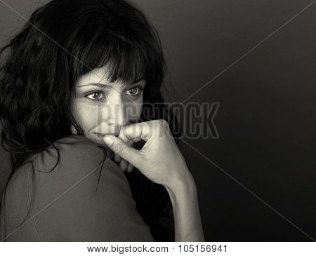 Image of a beautiful Woman On Grey