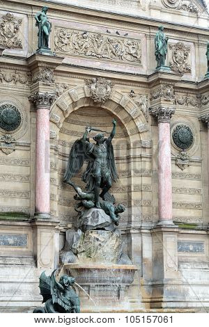 statues of Fountain Saint Michel in Paris
