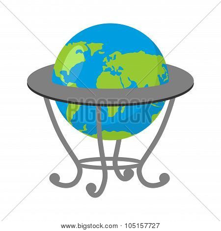 Globe On Stand. Model Of  Earth. School Geographical Atlas