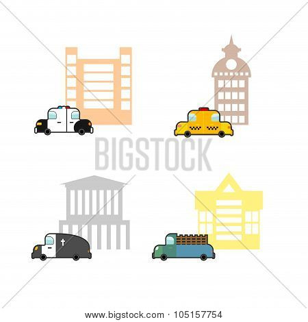 Set Cars And Buildings. Police And Police Station. Taxi And Train Station. Hearse And Crematoriums.