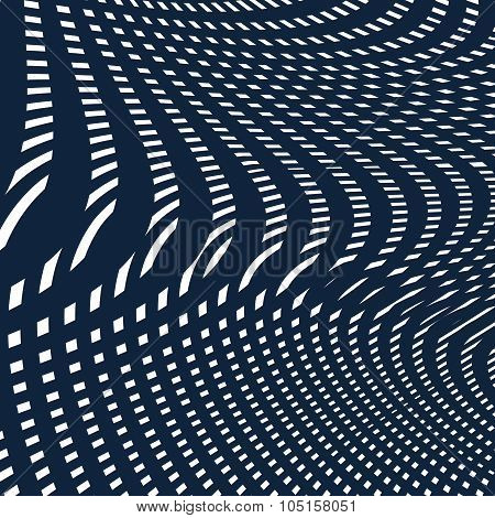 Moire Pattern, Op Art Background. Hypnotic Vector Backdrop With Geometric Black Lines. Abstract Tili