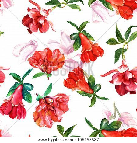 Seamless background pattern with fuchsia and pomegranate flowers, watercolour drawing