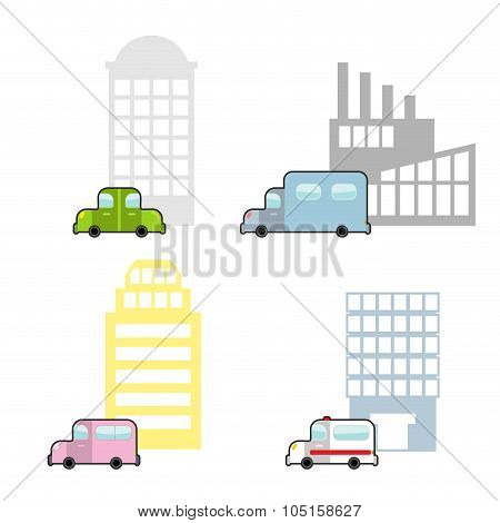 Transport And Public Buildings Set Cartoon Style. Skyscraper And A Car. Ambulance And Hospital. Plan