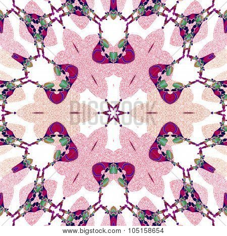 Seamless floral pattern pink white green