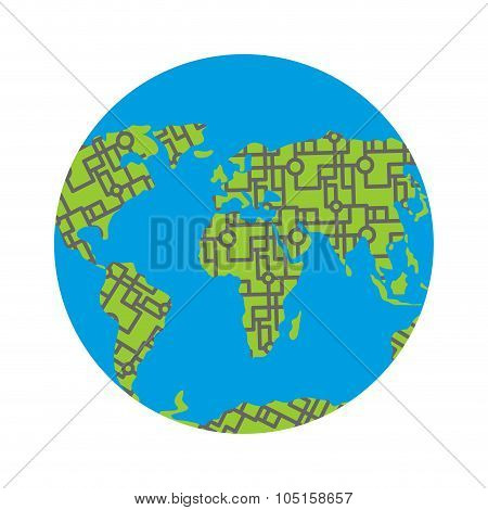 Urbanization Earth. Roads Have Filled In All Continents Of  Land. Highways Around The World. Traffic