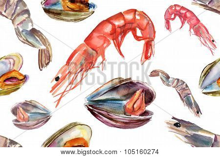 Seamless seafood background pattern with shrimps and mussels, watercolour drawings