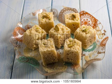 Mysore pak - an Indian popular sweet made with gram floor, ghee and sugar.