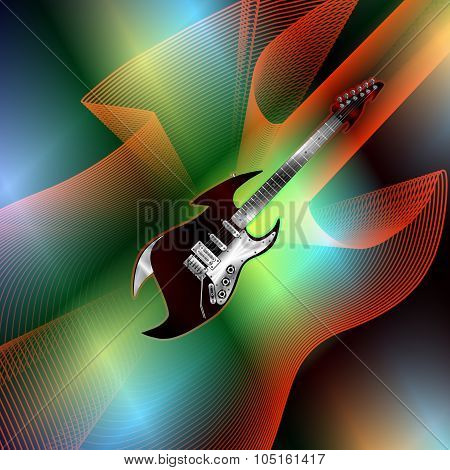 Hard Rock Electric Guitar On The Texture Bright Background