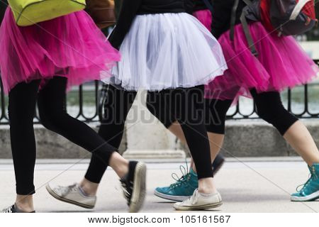 Young ballerinas in movement