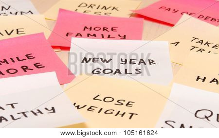 Popular New Year Goals Or Resolutions On Colorful Sticky Blank Notes