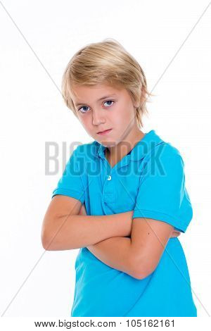 Bearish Blond Boy With Crossed Arms