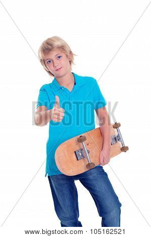 Boy In Blue Dress With Skateboard And Thumb Up