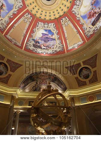 Macau - February 7, 2010: Photo of the Ceiling of The Venetian Macau.  The Venetian Macau is casino