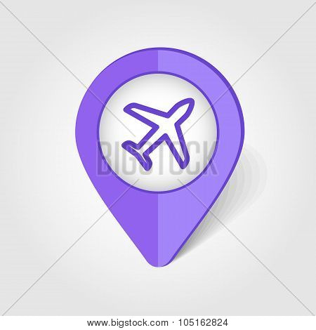 Aircraft, Plane, Airplane map pin icon