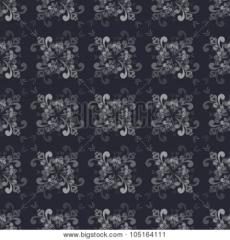 Seamless  Floral Grayscale Pattern On The Blue-gray Background