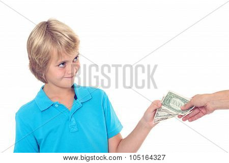 Blond Boy Preserve His Pocket Money