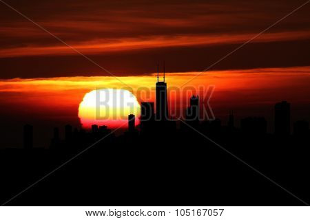 Chicago skyline at sunset illustration