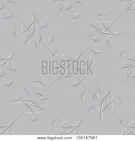 Seamless Floral Grayscale Pattern With Tree Twigs