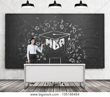 A Brunette Girl Presents Mba Sketch On The Black Chalk Board In A Modern Classroom. Three Black Ceil