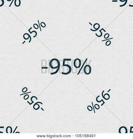 95 Percent Discount Sign Icon. Sale Symbol. Special Offer Label. Seamless Pattern With Geometric Tex