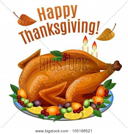 Thanksgiving Turkey On Platter With Garnish, Roast Turkey Dinner. Vector Illustration.