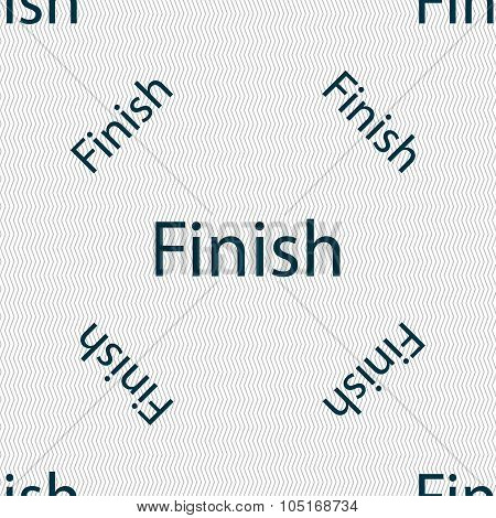 Finish Sign Icon. Power Button. Seamless Pattern With Geometric Texture. Vector