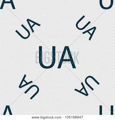 Ukraine Sign Icon. Symbol. Ua Navigation. Seamless Pattern With Geometric Texture. Vector