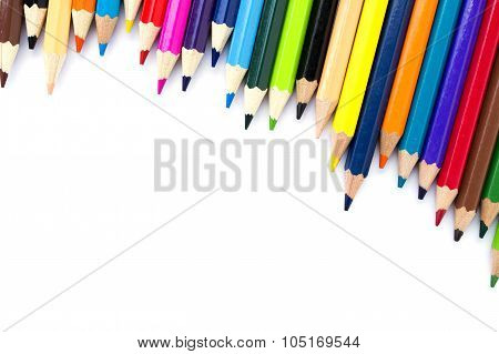 Color Pencils On White Background, Space For Caption