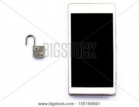 Smartphone With Padlock Is Unlock, Security Concept