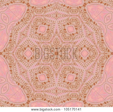Seamless ornaments pink brown