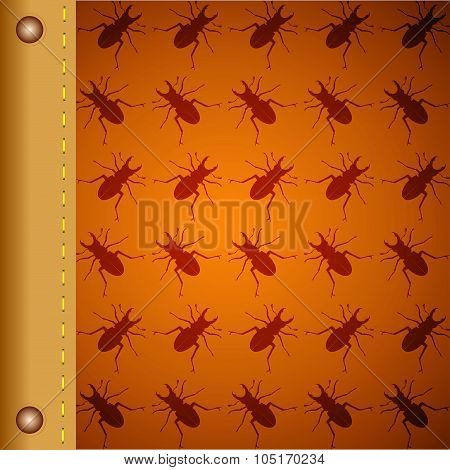 Pattern With Beetles Vector