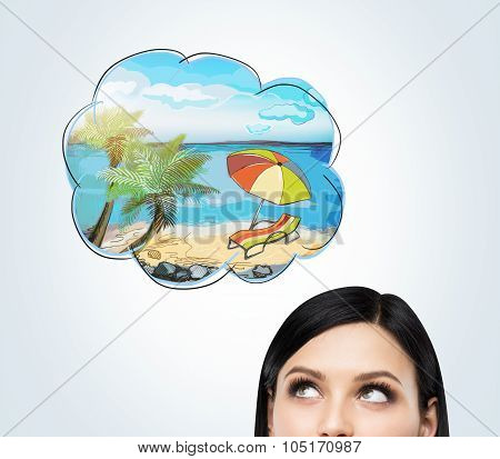 A Forehead Of A Brunette Woman Who Dreams About Summer Vacation On The Beach. A Nice Summer Place Is