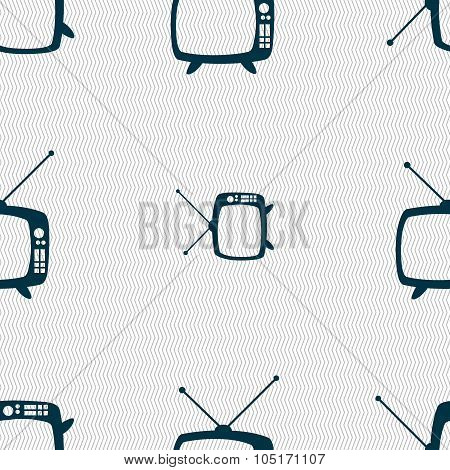Retro Tv Mode Sign Icon. Television Set Symbol. Seamless Abstract Background With Geometric Shapes.
