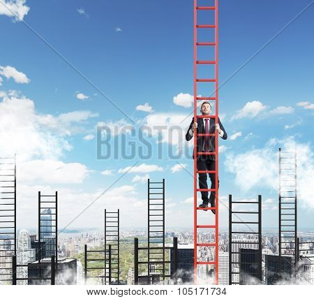 A Concept Of Competition, And Problem Solving. A Businessman Choses The Right Ladder To Achieve The
