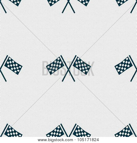 Race Flag Finish Icon Sign. Seamless Abstract Background With Geometric Shapes. Vector